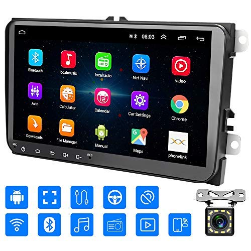 Radio 2 DIN Android, Auto Head Unit 1 + 16G Pantalla táctil de 9'para VW in Dash 2 DIN Car Radio Soporte Bluetooth, WiFi, FM, Video, Cámara de Respaldo, GPS, Mirror Link, Controles del Volante