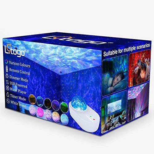 Litogo Proyector Estrellas Techo, LED Proyector de Luz Estrellas Galaxia Giratoria de 360 ° Lampara Proyector Estrellas, Proyector Estrellas con Bluetooth/Temporizador/Control Remoto para Boda, Fiesta