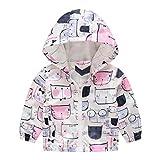 MRULIC Kinder Mdchen Jungen Floral Bedruckter Frhling mit Kapuze Licht Mantel Reiverschluss Jacke Tops Sonnenschutz Kleidung 1-6 Jahre(B-Wei,110-120CM)