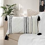 LOMOHOO Fundas de almohada de algodón bohemio, tejidas a mano, con borlas, decorativas, para dormitorio y sala de estar