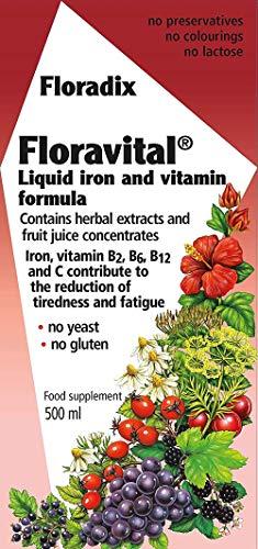 Floradix Floravital Liquid Iron and Vitamin Formula 500ml (Pack of 2)