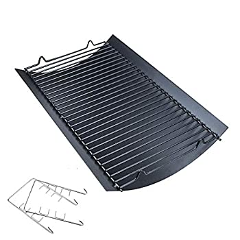 Hisencn 20 inch Ash pan for Chargriller 5050 5072 5650 2123 Charcoal Grills Char-Griller Model 200157 Replacement Part with 2pcs Fire Grate Hanger 20  Drip Pan