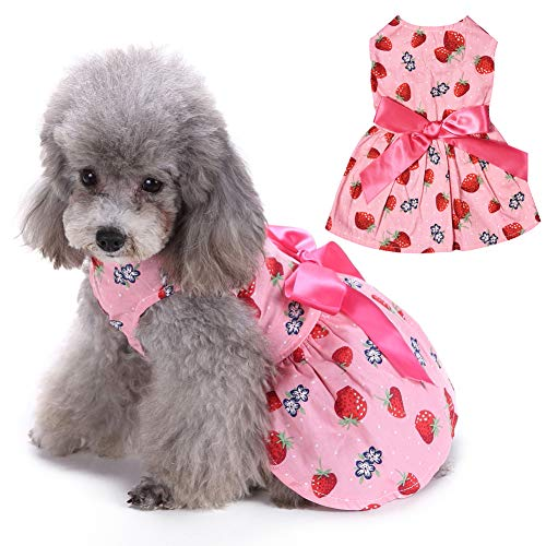 EMUST Small Dog Clothes, Printed Dog Dresses for Small Medium Dogs with Bow-Knot, Dog Tutu Dress for Beach Holiday Summer, S