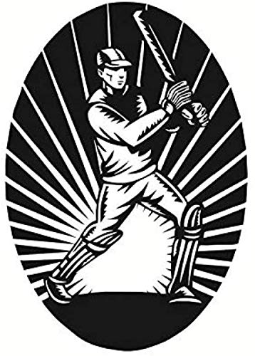 41x59cm Kunst Wandaufkleber abnehmbare Aufkleber wasserdichte Tapete ovaler Rahmen Cricketspieler Kinder Cricketspieler Poster Familie