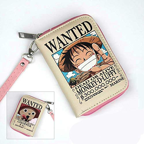pZgfg Anime Purse Wallet Cartera Corta con Cremallera De Color PU One Piece