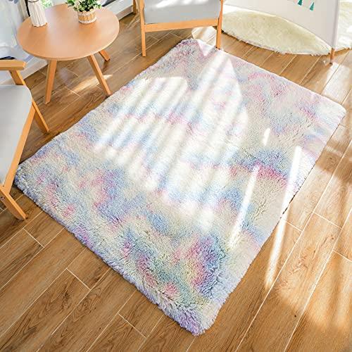 HEXIN tappeto sala,Tappeto in velluto morbido tappeto Shaggy Tappeto moderno per interni soffici, adatto come tappeto per camera da letto per Home Decor (Multicolore, 80x120cm)