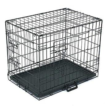 Hypeshops 24 -36  Dog Crate Kennel Folding Metal Pet Cage 1-2 Door Indoor Outdoor Black  24  Black