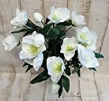 Christrose-Strauß 15 Blüten, 2 Knospe weiß 40cm lang zum Basteln Dekorieren künstliche Blumen