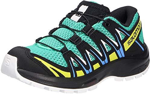Salomon XA Pro 3D J, Zapatillas Impermeables De Trail Running Y Outdoor Actividades con Sistema Fácil De Lazada, Verde Claro/Negro (Mint Leaf/Black/Evening Primrose), 38 EU