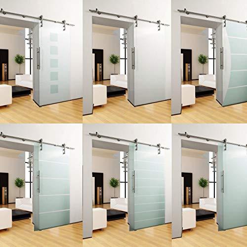 DURADOOR® Puerta interior de cristal de seguridad templado transparente en 2050 mm x 900 mm x 10 mm, sistema de puerta corredera, herraje para salón