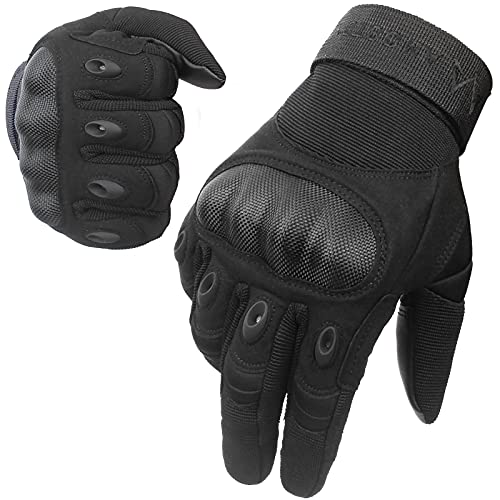 AMOSTBY Touch Screen Motorcycle Gloves for Men Military,Hard Knuckle Paintball Gloves for Outdoor Work Sports, Full Finger Tactical Gloves for Cycling, Shooting, Airsoft