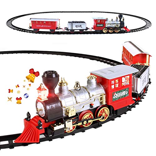 Electric Christmas Train Set for Kids with Headlight, Realistic Sound, Battery-Operated Classic Toy Train with 1 Locomotive, 2 Compartments, 10 Railway Tracks, Gift for Boys, Girls Ages 4 5 6 7