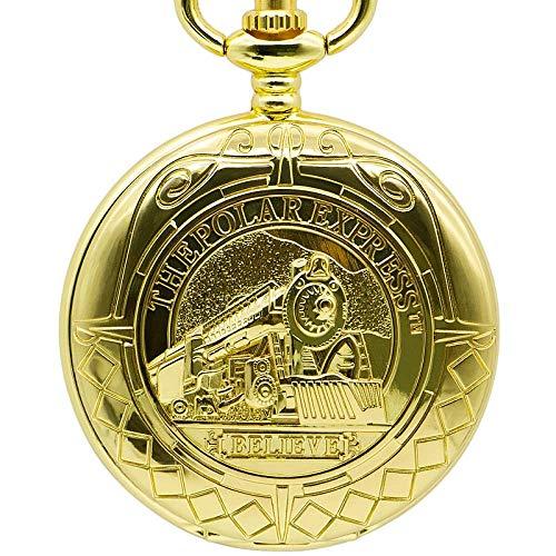 J-Love Reloj de Bolsillo de Oro Completo, Reloj mecánico de Mano con Colgante de Oro, Collar Doble, Cadena, Reloj ferroviario para Hombres y Mujeres