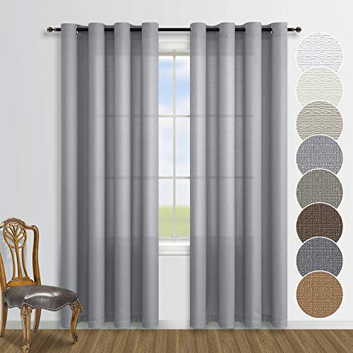 Grey Curtains 84 Inch Length for Living Room 2 Panels Sets Grommet Window Semi Sheer Gray Curtains for Bedroom
