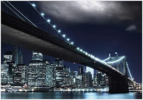 Fototapete SELBSTKLEBEND Papier-(04)-Kein einkleistern, mehrfach klebbar, wieder ablösbar-NEW YORK-272x198cm-8 Teile-Brooklyn Bridge Manhattan USA Stadt Amerika City Skyline Natur Landschaft Stickers