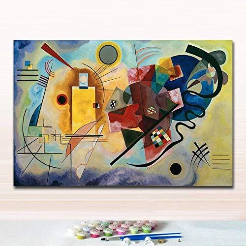 thfff DIY Gemälde Ausmalbilder Nach Zahlen Auf Leinwand Kandinsky Abstrakte Farbenfrohe Kunstwerk Farbblock Handgefertigt Für Hoom Decor