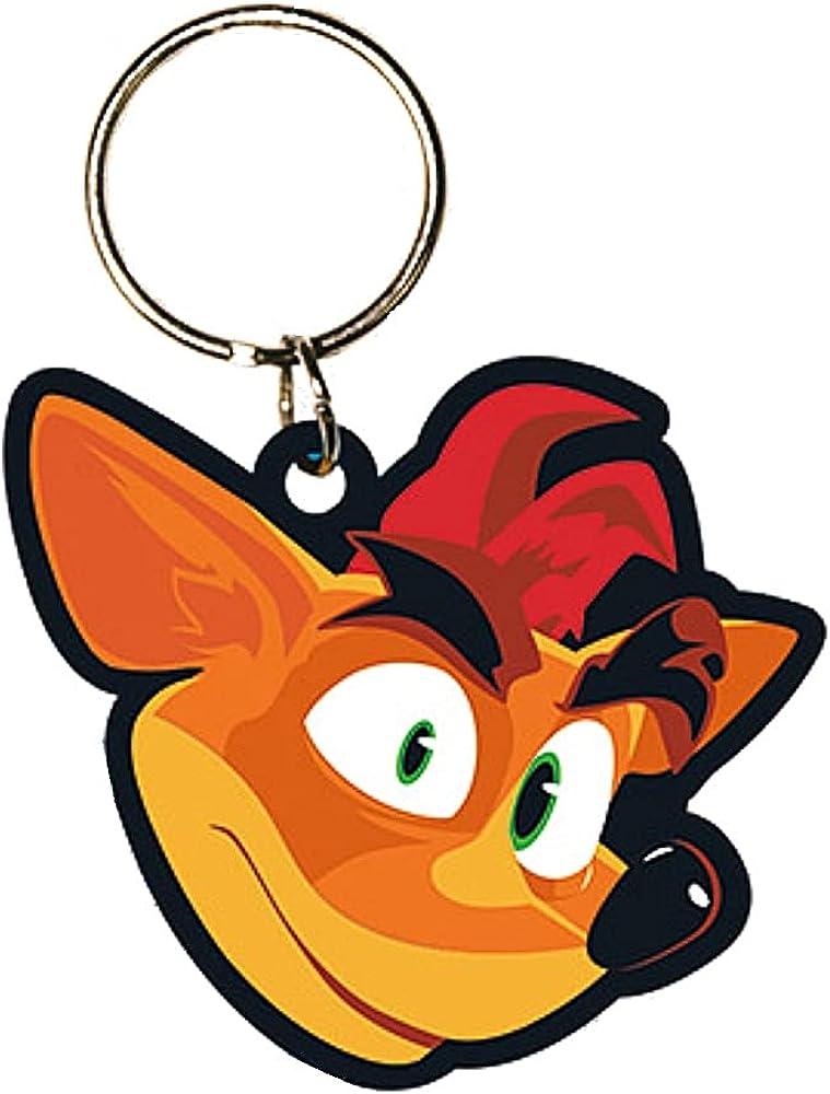 Genuine Crash Bandicoot 4 Crash Face Rubber Keyring Key Fob