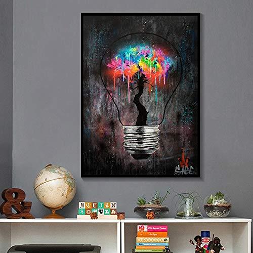Puzzle 1000 piezas Bombilla de luz graffiti arte lienzo pintura cuadro abstracto puzzle 1000 piezas educa Juego de habilidad para toda la familia, colorido juego de ubicación.50x75cm(20x30inch)