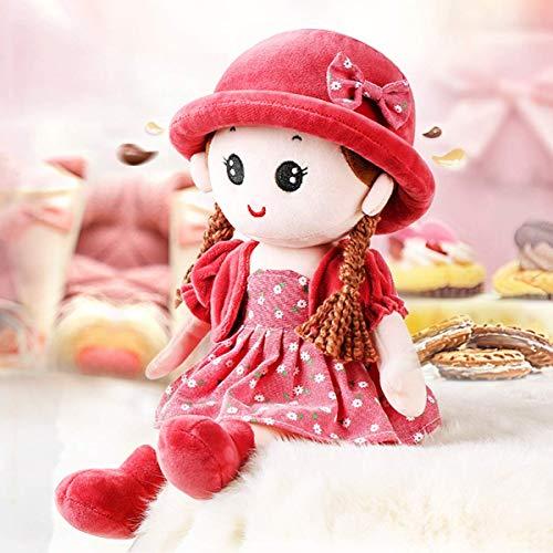 Weiche Stoffpuppe zum Spielen und Kuscheln Plüschpuppe mit Kleid zum An- und Ausziehen Plüschtier Süße Prinzessin Kuschelpuppe Weichpuppe als Geburtstagsgeschenk für Baby Mädchen Puppe Größe: 35 cm