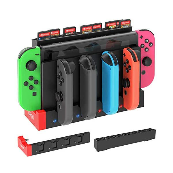 FastSnail Charger for Nintendo Switch Joy-con, Charging Dock Stand Station Base and Game Card Storage Holder with 28 Game Card Slots for Nintendo Switch