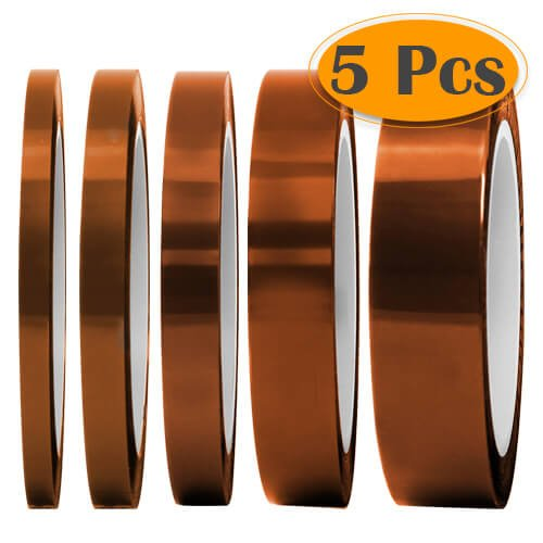 "Selizo High Temp Tape, 5 Pack Multi – Sized 1/8"", 15/64"", 15/64"", 15/32"", 5/64"", Heat Resistance Up to 280℃ (536℉)"