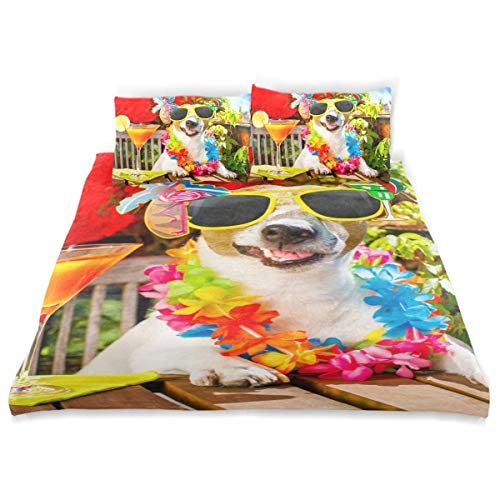 Qoqon Duvet Cover Set Drunk Jack Russell Dog Relaxing On Decorative 3 Piece Bedding Set with 2 Pillow Shams