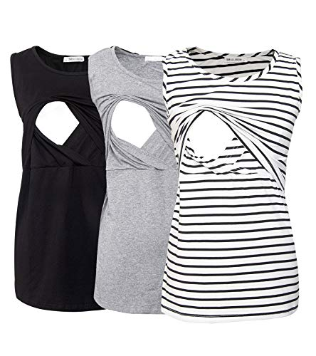 Smallshow Womens Sleeveless Maternity Nursing Tank Tops Soft Breastfeeding Clothes 2-Pack