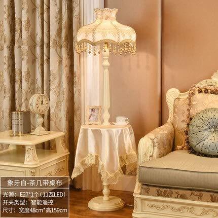 HUAHUA Lámpara de piso De estilo europeo Palace Luxury Lámpara de la sala de estar lámpara de cabecera creativo retro LED blanco Té de mesa Lámpara de piso (Lampshade Color : Beige tablecloth)