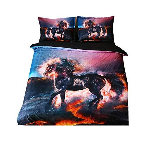 Cheval, 140x200cm Loup Polyester-Coton Housse De Couette 3 Pi/èces 1 Housse De Couette + 2 Taies doreiller 48x74cm CHAOSE Ensemble De Literie S/érie Animale 1.2M Bed