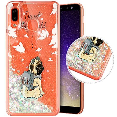 Coque Compatible avec Samsung Galaxy A40,Transparente Coque Paillettes Mobiles Glitter Liquide Motif Peint TPU Souple Silicone Housse Etui de Protection Complete Antichoc Brillant Gel Bumper,Chiots
