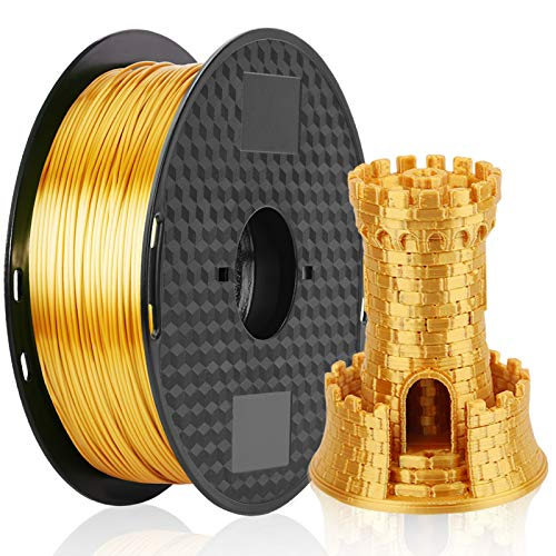 PLA Filament 1.75mm Silk Gold, MKOEM Silky Shiny 3D Printer Filament for 3D Printer and 3D Pen, 1kg 1 Spool