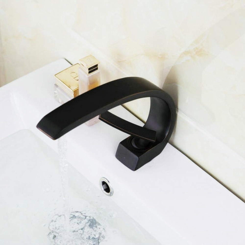 Lddpl Schwarzes Waschbecken Bad Wasserhahn l eingerieben Schwarz Bronze Einhand-Spültischarmaturen, Mischbatterie