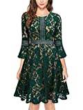 MISSMAY Women's Vintage Full Lace Contrast Bell Sleeve Big Swing A-Line Dress, Small, Green