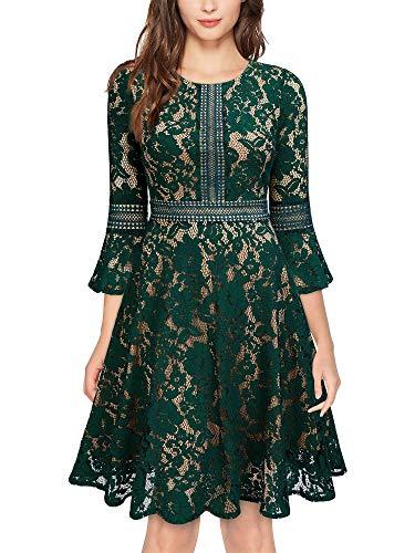 MISSMAY Women's Vintage Full Lace Contrast Bell Sleeve Big Swing A-Line Dress, Large, Green