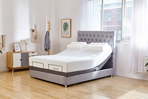 HOFISH 2S Wired Mesh Layer Adjustable Bed Base - One-Step Assembly Customizable Positions Twin XL Adjustable Bed Base with Backlit Wireless Remote, USB Port Twin XL