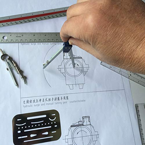Architect Scale Ruler,Architecture Scale Ruler Set,Drawing Tools for Drafting with Scale, Metal Rulers of Solid Aluminum with Erasing Shield. Compass with Lock. Laser-Etched Ruler for Blueprint Photo #5