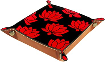 Shallow Storage Bin Box Desktop Organizer Containers Baskets Cube with Red Lotus Flower