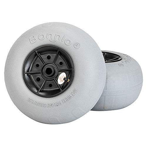 Bonnlo Replacement Balloon Wheels 8.5' Beach Sand Tires for Kayak Dolly Canoe Carts Buggy with Free Air Pump (2-Pack)