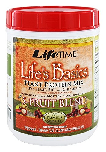 Lifetime Life's Basics Plant Protein Powder 5 Fruit Blend -- 21.6 oz