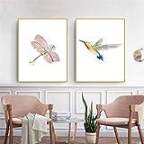 Impresiones de arte de pared cartel nórdico Decoraciónación de imagen HD hogar acuarela pájaro japonés libélula dibujos animados Modular habitación de bebé 40x62cmx2 sin marco