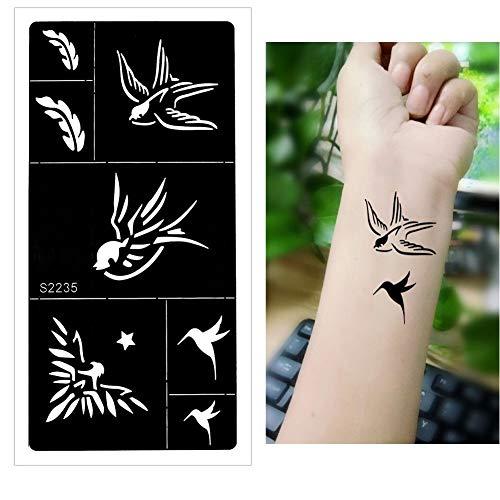 lecoolz Henna Tattoo Schablone Airbrush Stencil Kolibri Schwalbe Feder