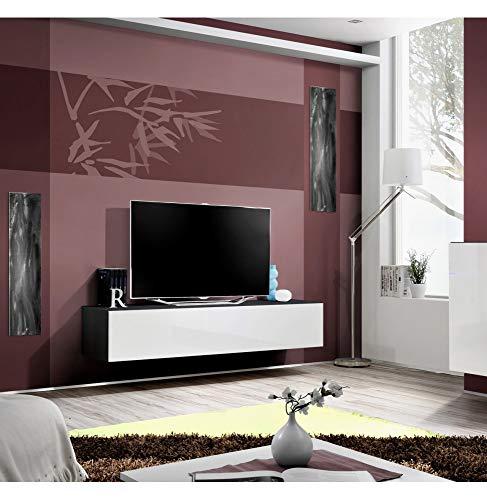 ASM Meuble TV - Blanc et Noir