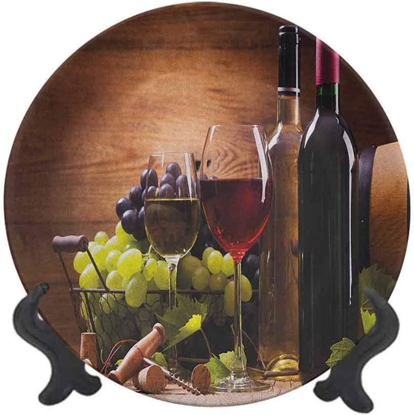 Plato decorativo de cerámica de 20,32 cm, copas de vino tinto y blanco servidas con uvas francesas, degustación gourmet, plato decorativo de cerámica para mesa de comedor, decoración del hogar