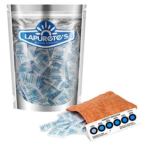 lapurete de® Paquete de 5 Gramos de 50 Paquetes de Gel de sílice desecante Deshumidificadores (regeneración)