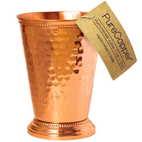 "Mint Julep Cup - 100% Copper, Hammered by Hand - 4.5"" Height 12 Ounce (Hammered Copper, 12oz)"