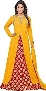 Saree Kurti Marts Women's Georgette Dress Material (Yellow)