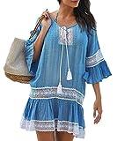 YouKD Blusas con Bordado de túnica Boho para Mujer Poncho de rajes de baño Vestido de Verano para la Playa