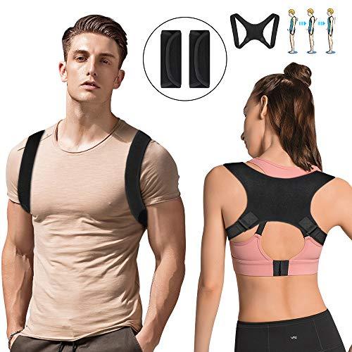 Nasharia Geradehalter zur Haltungskorrektur Rücken Herren Damen, Rückentrainer Schultergurt Geradehalter Ideal für Linderung von Rückenschmerzen und Schulterschmerzen (mit 2 Schulterpolster)