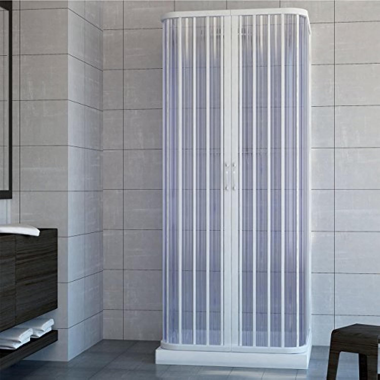 Duschabtrennung, Duschkabinenwand, Gre  70 x 170 x 70 cm breit, H 185 cm, aus PVC, Zentrale-ffnung, 2 Falttüren, Wei