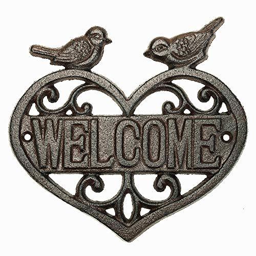 Sungmor Vintage, Signe de Bienvenue, Montage Mural en Fonte avec cœur | Wall Decor Bienvenue Tag | Maison Plaque Jardin Bar café Magasin Porte Signe de Porte décoration Murale